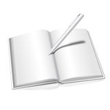 Realistic  on white background opened book Stock Image