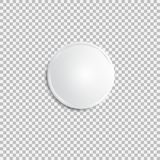 Realistic white badge. Paper shadow blank. Web banner. Element for advertising and promotional message isolated on transparent background. Abstract vector Royalty Free Stock Images