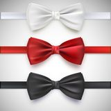 Realistic White, Black And Red Bow Tie Royalty Free Stock Images