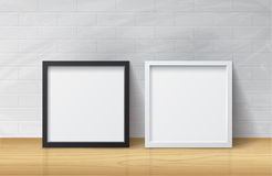 Realistic White and Black Blank Picture Square frame, standing o Stock Photography
