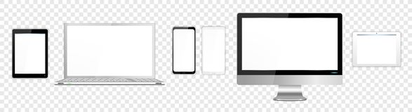 Realistic White and Black Modern Computer Screen Laptop Tablets SmartPhone royalty free stock images