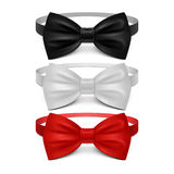 Realistic white, black and red bow tie vector set. Bow tie for ceremony, classic garment butterfly bow tie illustration Stock Images