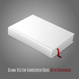 Realistic white blank hardcover book with red. Bookmark. Isolated on grey background for design and branding. Vector illustration Royalty Free Stock Photos