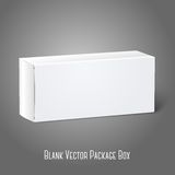 Realistic white blank paper package box. Isolated. On grey background for design and branding. Vector illustration Royalty Free Stock Photo