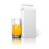 Realistic white blank paper package and glass for Royalty Free Stock Photo