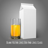 Realistic white blank paper package and glass for. Juice, milk, cocktail etc. Isolated on grey background, for design and branding. Transparent glass for every Stock Photo