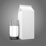 Realistic white blank paper package and glass for. Milk, juice, cocktail etc. Isolated on grey background, for design and branding. Transparent glass for every Stock Image