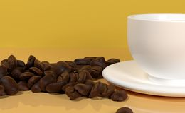 Realistic White Cup Of Cafe With Lot Of Coffee Beans. 3D Rendering Of Realistic White Cup Of Cafe With Lot Of Coffee Beans On Warm Orange Background Closeup Royalty Free Stock Photography