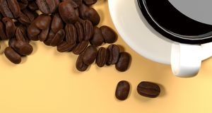Realistic White Cup Of Cafe With Lot Of Coffee Beans. 3D Rendering Of Realistic White Cup Of Cafe With Lot Of Coffee Beans On Warm Orange Background Top View Stock Images