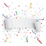 Realistic white curved ribbon, on celebration Stock Image
