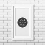 Realistic white frame on the brick wall background Stock Photos