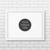 Realistic white frame A4 on the brick wall. Background. It can be used for presentations. Vector EPS10 illustration Royalty Free Stock Images