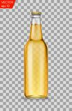 Realistic white glass beer bottles with drink isolated on a transparent background. Vector illustration. Template blank Stock Photos