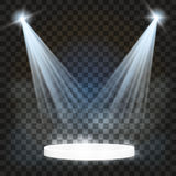 Realistic white gray glowing spotlights on transparent laid background. Theater studio, scene illumination. Magic, bright, gradien Royalty Free Stock Photo