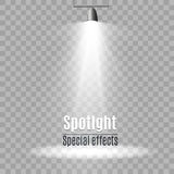 Realistic white gray glowing spotlights on transparent laid background. Theater studio, scene illumination. Magic, bright, gradien Royalty Free Stock Image
