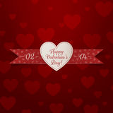 Realistic white Heart Valentines Day Emblem Stock Photography