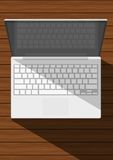 Realistic white laptop. On wooden table Vector Illustration