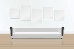 Realistic white long soft sofa with reflection on the floor. Luxury couch and pictures on the wall. Modern living room. Office or lounge. Vector illustration Stock Photography