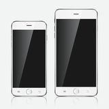 Realistic white mobile phone. Royalty Free Stock Photos