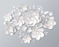 Realistic White Paper Flowers Set Stock Photography