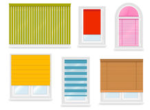 Realistic white plastic windows set with different blinds Royalty Free Stock Photography