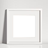 Realistic White Square Matted Picture Frame Mockup Stock Photography