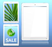 Realistic White Tablet Computer on Blue background. Vector with grouped items, named layers and with a separate layer to easily add your own image to tablet Royalty Free Stock Photo