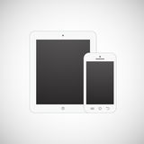 Realistic white tablet computer and mobile phone Stock Images