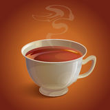 realistic white tea cup with vapor on Royalty Free Stock Images