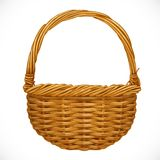 Realistic wicker basket isolated on white backgrou Royalty Free Stock Photography