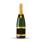 Realistic wine bottle with gold foil. Isolated on white background Stock Photo