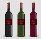 Realistic wine bottle set. Isolated on white background. 3d glass bottles mock-up.  Stock Photography