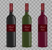 Realistic wine bottle set. Isolated on white background. 3d glass bottles mock-up. Stock Images
