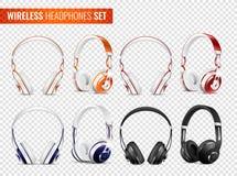 Realistic Wireless Earphones Set. Set of realistic wireless earphones of various color with headband on transparent background  vector illustration Stock Photos