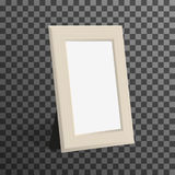 Realistic woden picture or photo frame mock up standing on transparent background. Royalty Free Stock Images