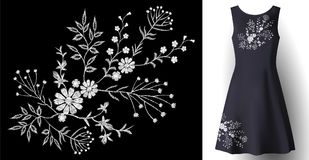 Realistic woman dress embroidery floral decoration. 3d detailed fashion stitched white ornament patch on dark blue. Fabric vector illustration art Stock Image