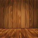 Realistic wood floor and wall for your design. Royalty Free Stock Image