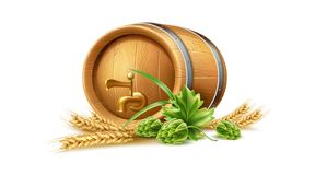 Vecot realistic 3d wooden keg, oak barrel brewery. Realistic wooden barrel hop wheat ears. Old beer, wine or whiskey oak container. Traditional winery, brewery vector illustration