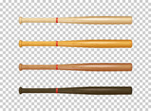 Realistic wooden baseball bat icon set. Closeup isolated on transparent background. Design template. In EPS10 vector Stock Photography