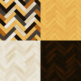 Realistic wooden floor herringbone parquet seamless patterns set, vector Royalty Free Stock Images