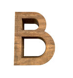 Realistic Wooden letter B isolated on white background. Wood letter, Alphabetic character Royalty Free Stock Image