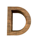Realistic Wooden letter D isolated on white background. Wood letter, Alphabetic character Royalty Free Stock Photos