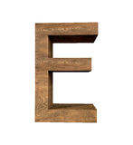 Realistic Wooden letter E isolated on white background. Wood letter, Alphabetic character Stock Photography