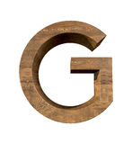 Realistic Wooden letter G isolated on white background. Wood letter, Alphabetic character Royalty Free Stock Images