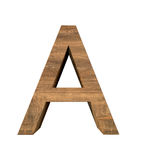 Realistic Wooden letter A isolated on white background. Wood letter, Alphabetic character Stock Photo