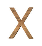 Realistic Wooden letter X isolated on white background. Wood letter, Alphabetic character Stock Photos