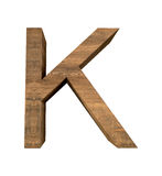 Realistic Wooden letter K isolated on white background. Wood letter, Alphabetic character Stock Photos