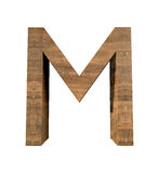 Realistic Wooden letter M isolated on white background. Wood letter, Alphabetic character Stock Photography
