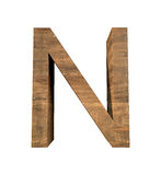 Realistic Wooden letter N isolated on white background. Wood letter, Alphabetic character Stock Photo