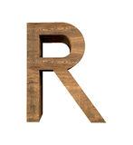 Realistic Wooden letter R isolated on white background. Wood letter, Alphabetic character Stock Images